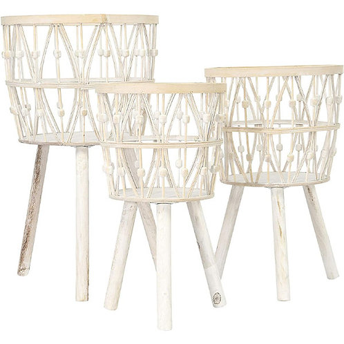 Creative Co-op Bamboo Wood Legs & Whitewashed Finish Baskets, White