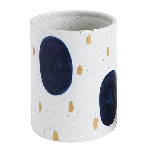 amuse l Shoppeamuse l Creative Co Op Gold & Blue Dots Planter