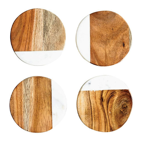 Creative Co-Op Marble and Natural Mango Wood Coasters (Set of 4), Round
