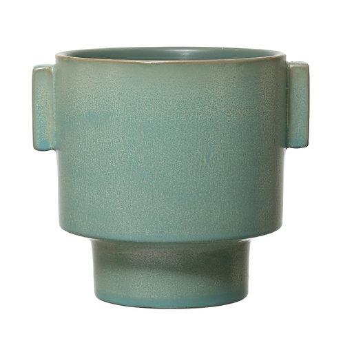 Stoneware Planter Reactive Glaze Aqua