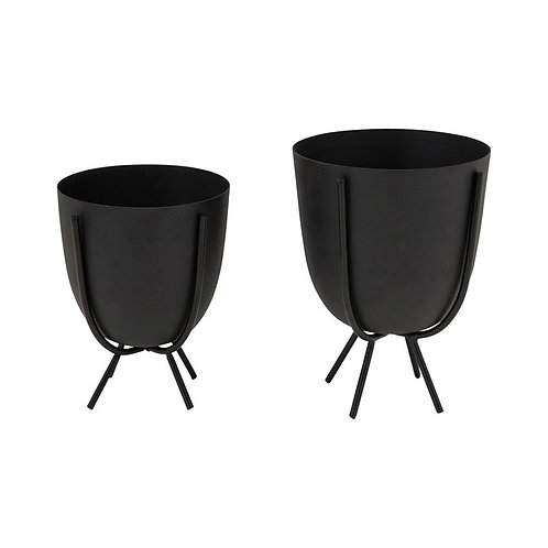 Contour Matte Black Planter with Stand