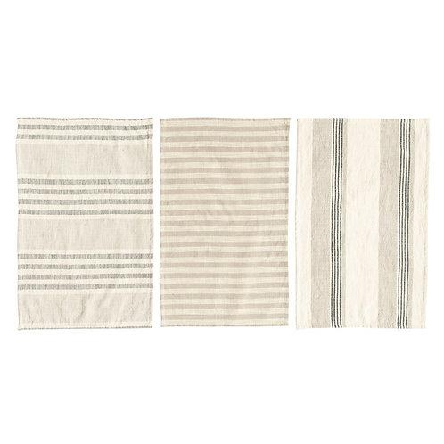 Cotton Striped Tea Towels Set