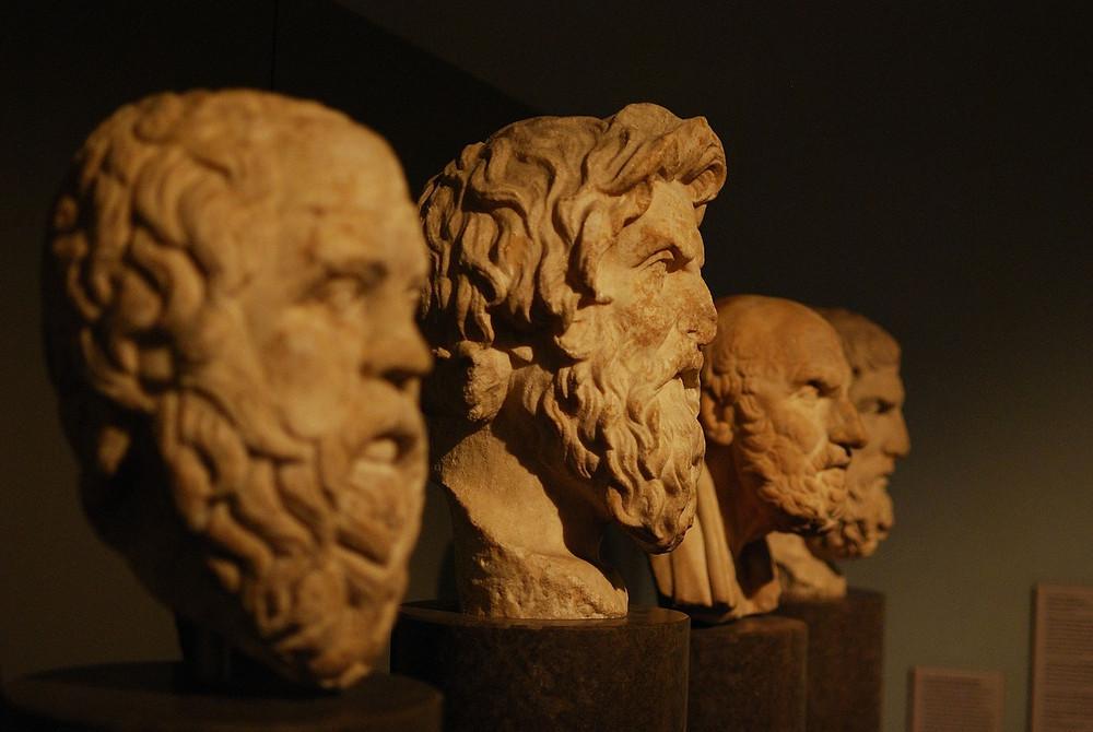 stone heads on display