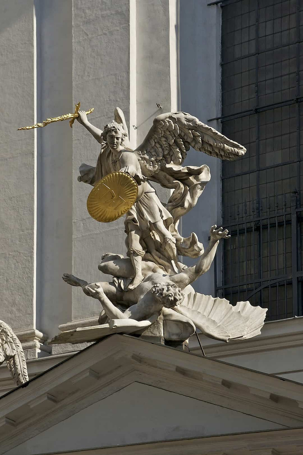 Statue of Archangel Michael in battle