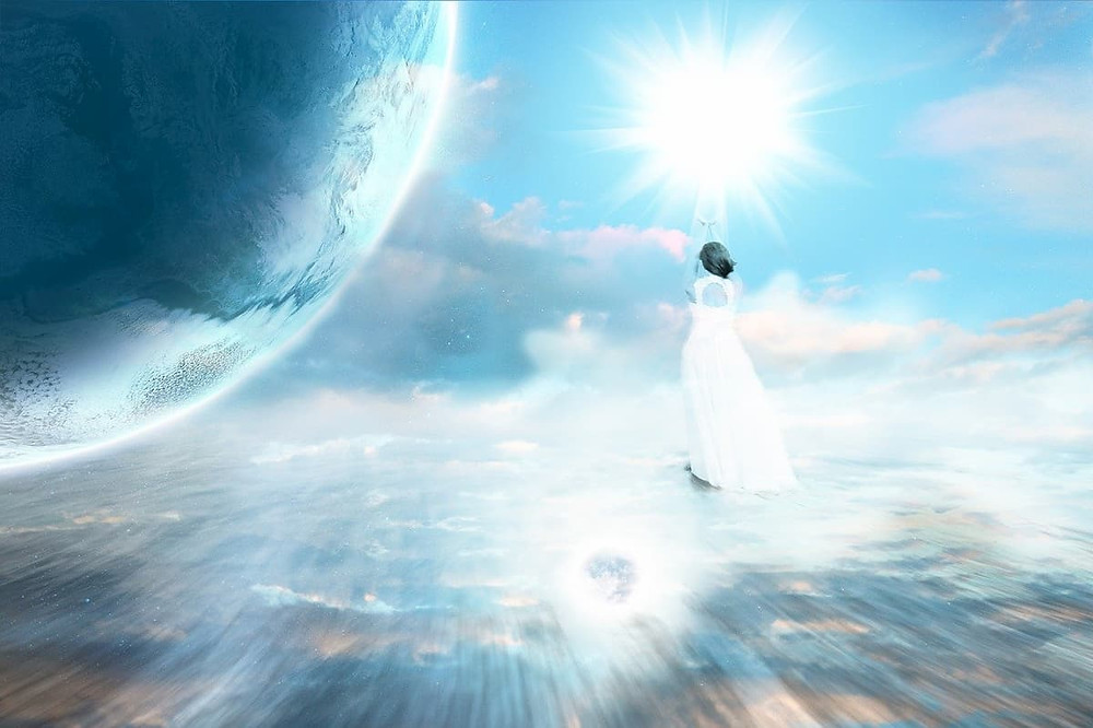 Human spirit in the afterlife as they experience life after death