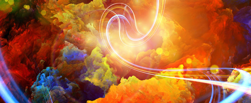 splotches of color in abstract form with light source swooshing around