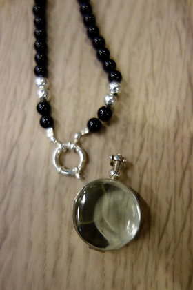 Onyx necklace with sterling silver & glass locket