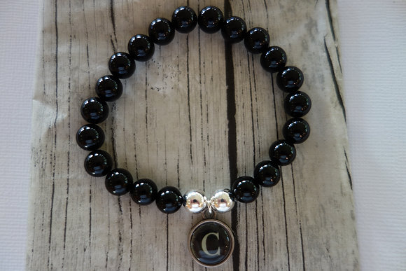 Black onyx & silver ball bracelet with letter