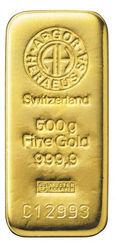 500 gr Arany tömb Argor Heraeus LBMA