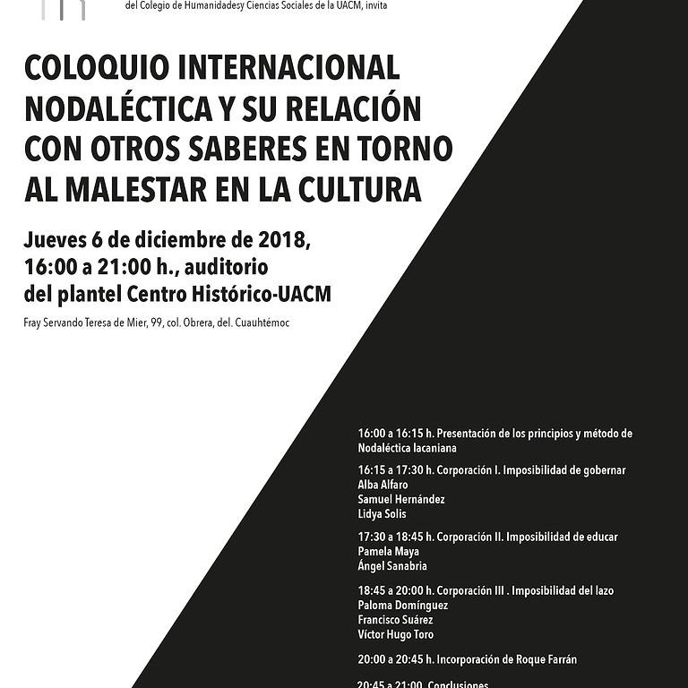 COLOQUIO INTERNACIONAL NODALÉCTICA Y SU RELACIÓN CON OTROS SABERES EN TORNO AL MALESTAR EN LA CULTURA