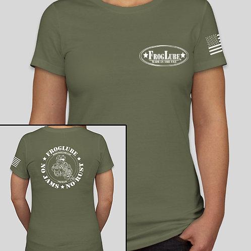 "FrogLube Women's ""Legacy"" Fighting Frog Crew Neck Short Sleeve Tee OD GREEN"