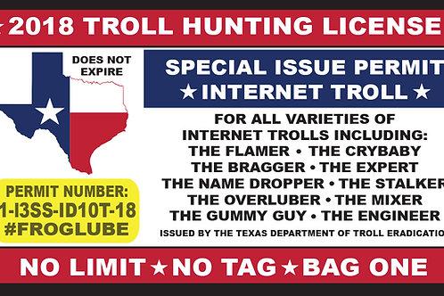 FrogLube TROLL HUNTING PERMIT Sticker 3-pack