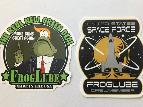 "FrogLube® ""SPACEFORCE"" & ""GREEN NEW DEAL"" Sticker 2 pack"