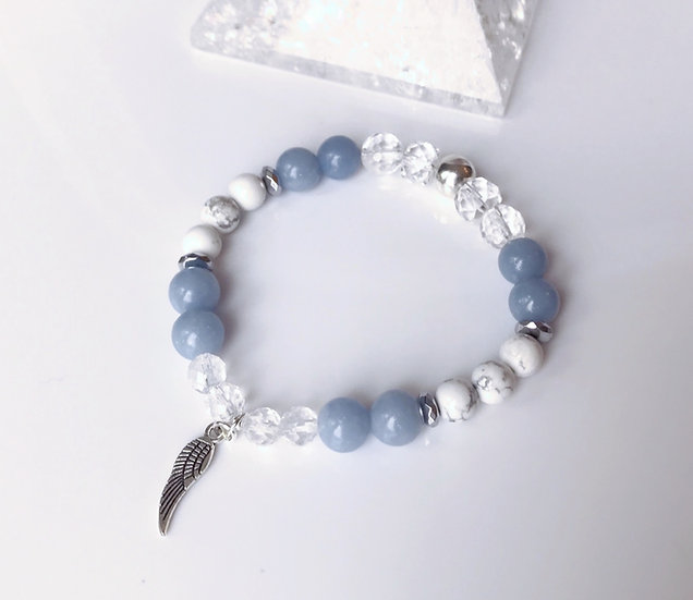 Guardian Angel Bracelet with Angelite, White Howlite and Clear Quartz