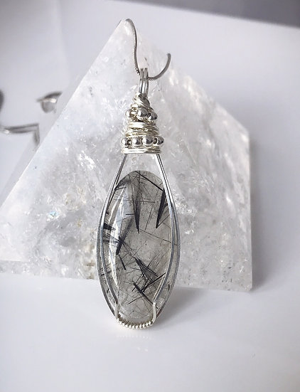 Tourmalated Quartz Wire Wrapped Pendant with Sterling Silver Chain