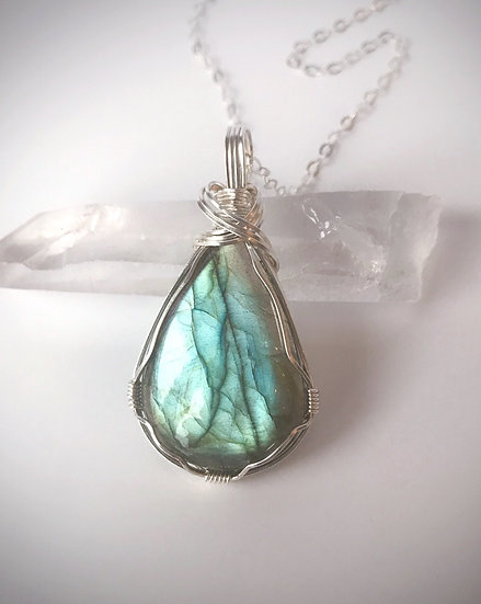 Green Labradorite Wire Wrapped Pendant with Silver Chain