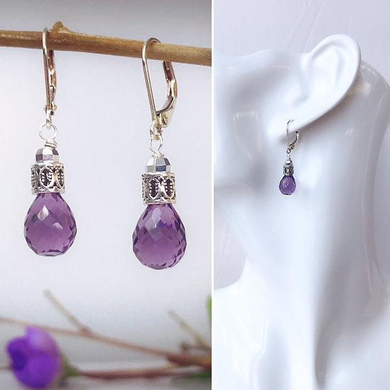 Sterling Silver and Amethyst Briolette Earrings