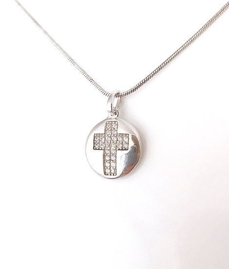 Cross Necklace in Sterling Silver with Cubic Zirconia