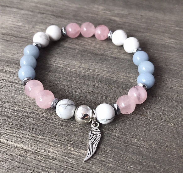 Angel Healing Bracelet with Angelite, White Howlite and Rose Quartz