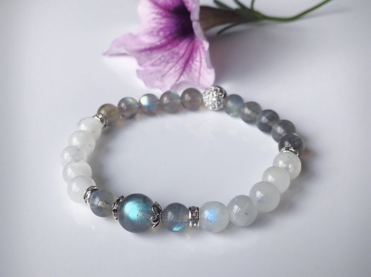 Labradorite and Moonstone Bracelet for Intuition & Goddess Energy