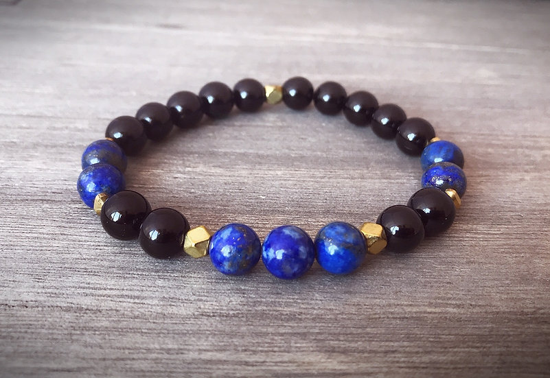 Black Tourmaline and Lapis Lazuli Bracelet for Grounding and Third Eye Chakra
