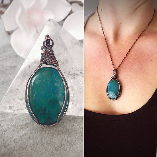 Chrysocolla & Copper Wire Wrapped Pendant with Chain