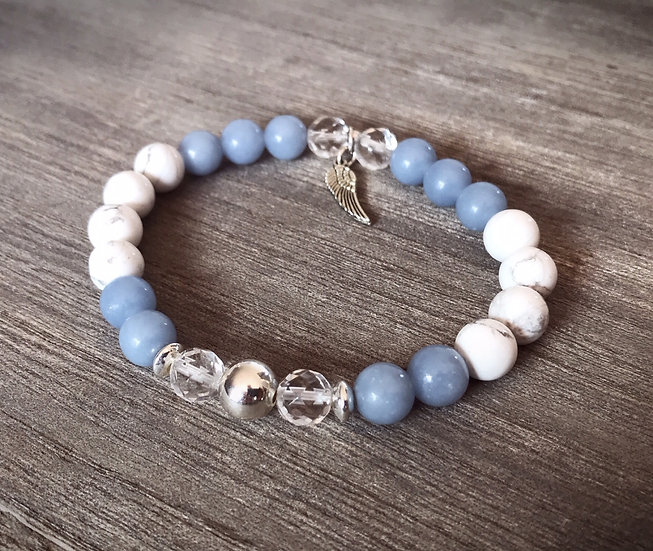Angel Healing Bracelet with Angelite, White Howlite and Clear Quartz