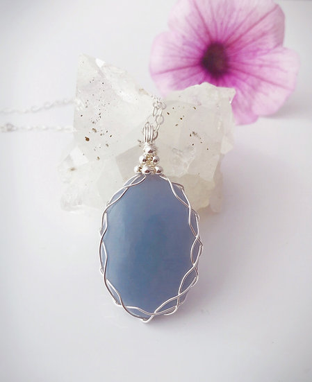 Powerful Angelite Gemstone Wire Wrapped Pendant (smaller size) with Silver Chain