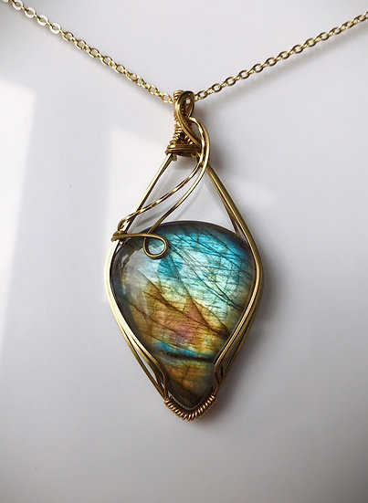 Labradorite Wire Wrapped Pendant with Gold Plated Chain