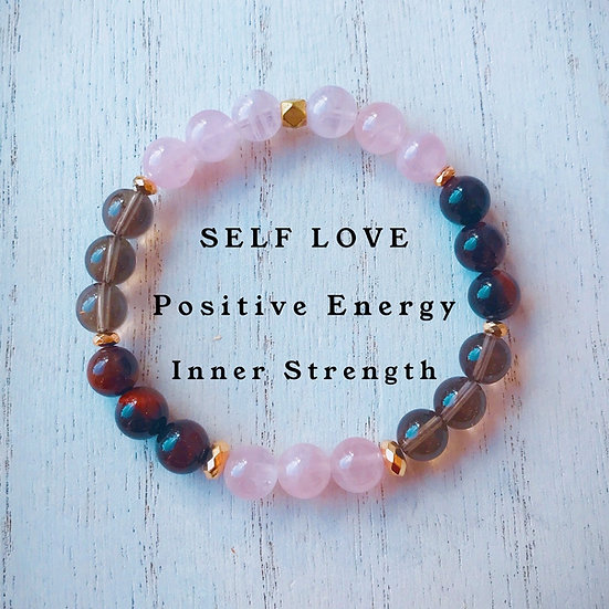 Rose Quartz, Smokey Quartz and Red Tigers Eye Bracelet - Self Love, Positivity