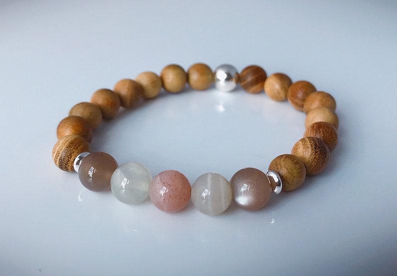 Sandalwood with Multi-coloured Moonstone