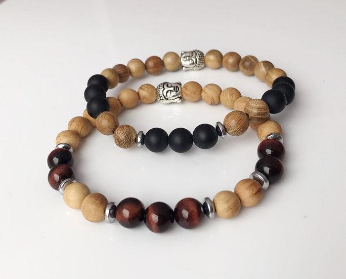 Men's & Women's Sandalwood Bracelet with Red Tigers Eye or Black Onyx