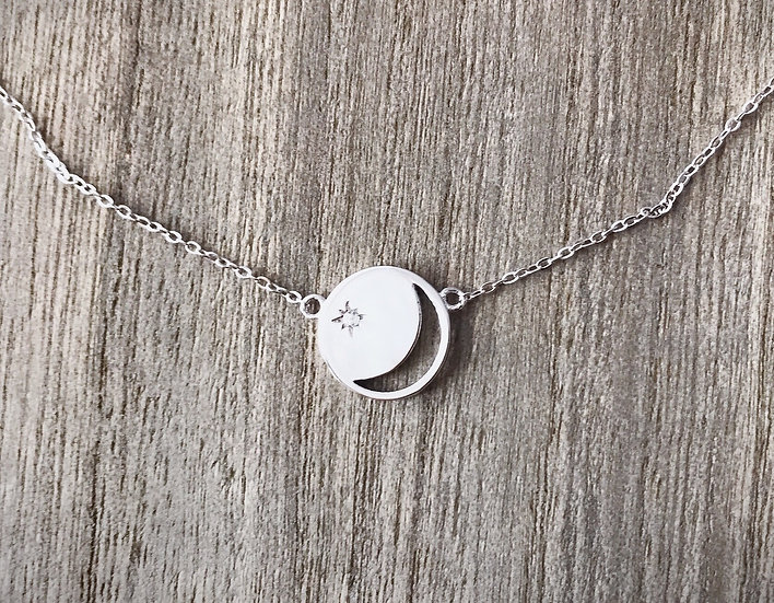 Moon with Star Necklace in Sterling Silver