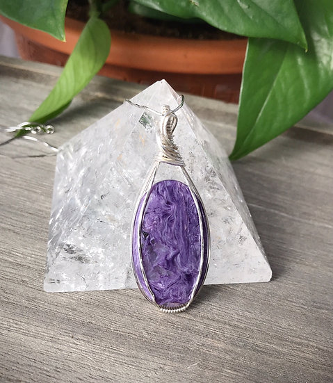 Charoite Sterling Silver Wire Wrapped Pendant with chain