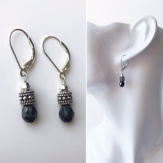 Sterling Silver and Black Spinel Briolette Earrings