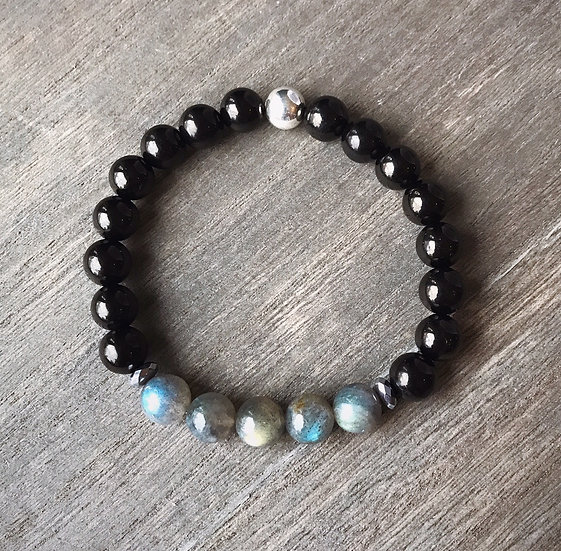 Shungite Bracelet with Labradorite for EMF Protection and Healing