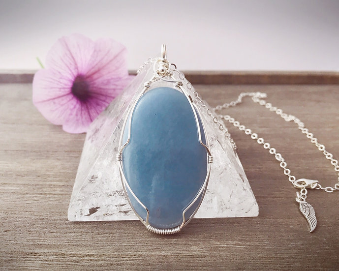 Powerful Angelite Gemstone Wire Wrapped Pendant with Silver Chain
