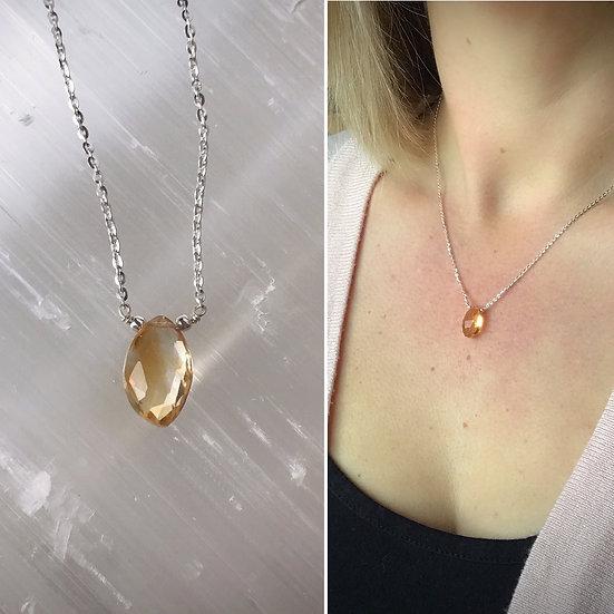 Citrine Drop Necklace Sterling Silver or 14 k Gold Filled