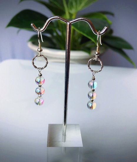 Angel Aura Quartz and Sterling Silver Dangle Earrings