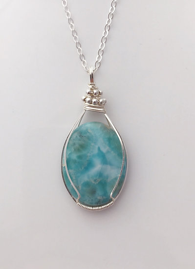 Larimar Wire Wrapped necklace