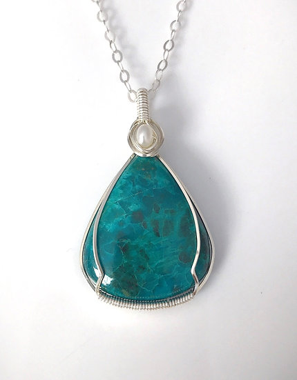 Chrysocolla Wire Wrapped Pendant with Silver Chain