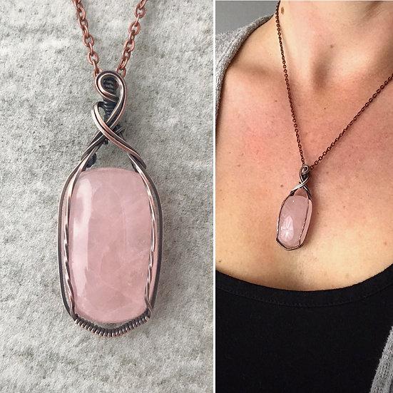Rose Quartz & Copper Wire Wrapped Pendant with Chain