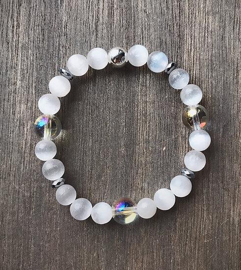 Selenite with Angel Aura Quartz Bracelet