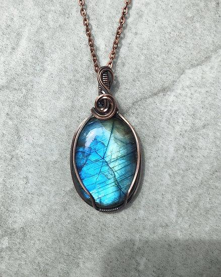 Aqua Labradorite & Copper Wire Wrapped Pendant with Chain