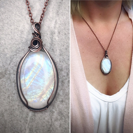 Gorgeous Moonstone & Copper Wire Wrapped Pendant with Chain