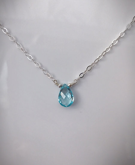Blue Topaz Drop Necklace Sterling Silver or Gold Filled