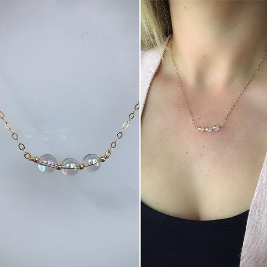 Angel Aura Gemstone Beaded Necklace Sterling Silver or 14 k Gold Filled