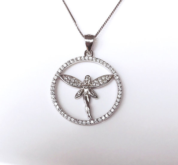 Fairy Necklace in Sterling Silver with Cubic Zirconia