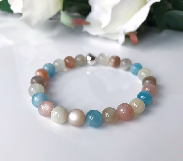 Multicoloured Moonstone with Aquamarine Bracelet