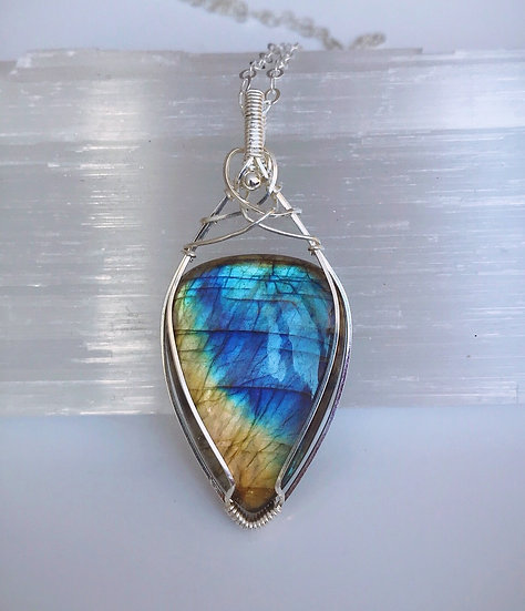 Stunning Labradorite Wire Wrapped Pendant with Chain